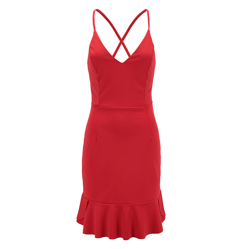 Nadafair Red Black Backless V Neck Lace-up Sexy Bodycon Club Party Dress 2018 New Women Summer Casual Strap Dress 9