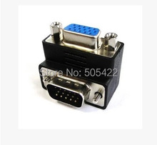 High Quality VGA 15 Pin Male To Female M/F 90 degree Right Angle Adapter Cord Monitor Connector Adapter(China)