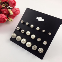DANZE 9 Pairs/lot Fashion Rhinestone Stud Earrings Set for Women Female Metal & Simulated Pearl Disco Ball Ear Studs Pusety Aros