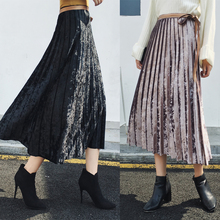 Pleuche Women Fashion A-line Skirts Korea Autumn Winter Pleated Skirt Female New Arrival Medium Long Chic Clothing MQ0031(China)