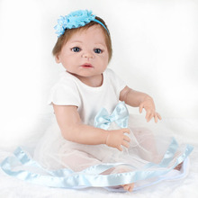"55cm Realistic Doll Full Silicone Reborn Babies Handmade Girl Gift Toys For Kids 22"" Soft Dolls with Light Blue Dress Set"