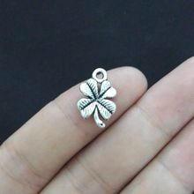 50Pcs 11*18mm Antique Silver Clover Charm Pendant Jewlery Making