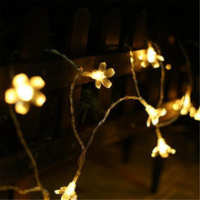 Battery Lights 1.5M 10LED cherry flowers Fairy LED outdoor party light string Christmas / New Year decoration fairy lights