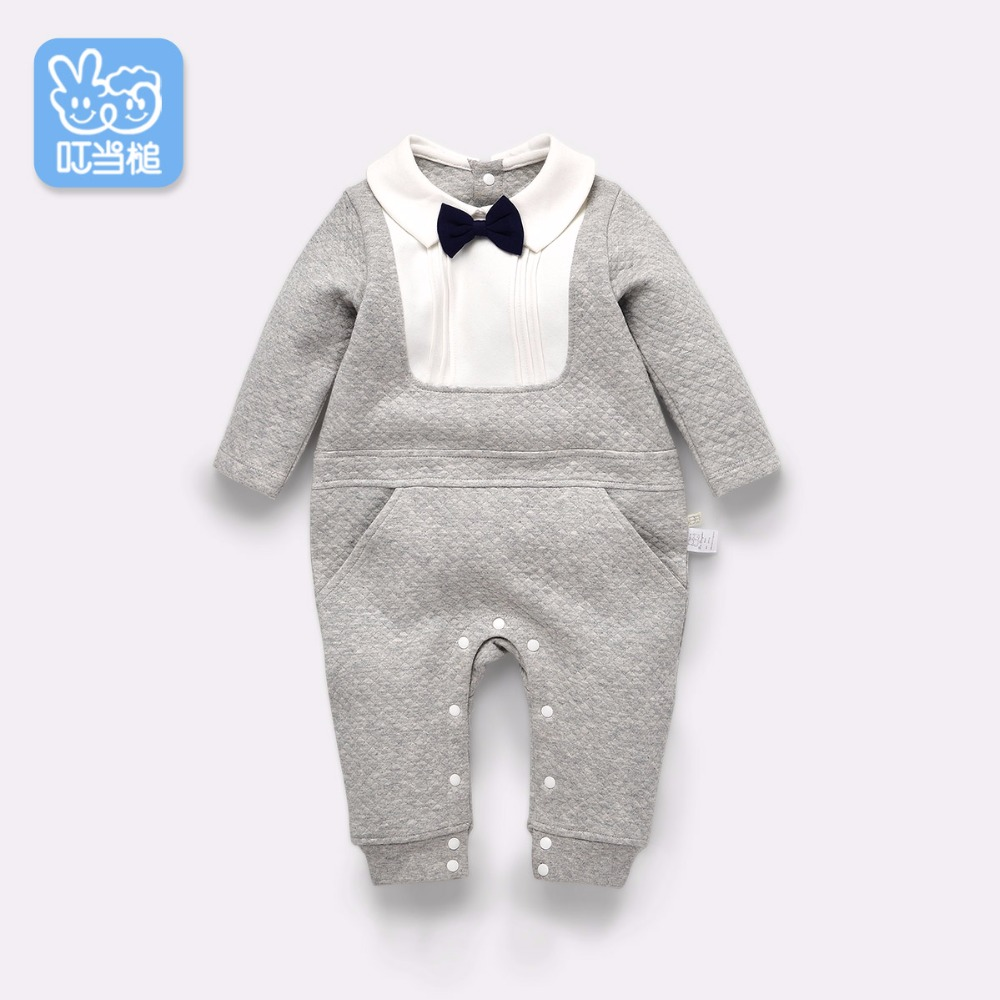 Dinstry newborn baby romper jumpsuit spring and autumn gentleman long sleeved clothes <br>