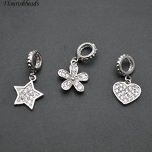 Small 10mm Metal Star / Heart / Flower Paved CZ Beads Bracelet Charms Jewelry Findings(China)