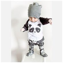 2017 Hot sale Autumn Newborn Baby Boy Clothes Unisex Cartoon Panda Long-sleeved T-shirt+Pants 2pcs Infant Baby Girl Clothing Set
