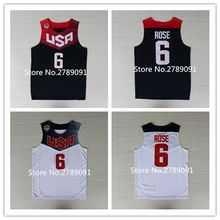 #6 Derrick Rose 2014 Dream Team USA Basketball Jersey Stitched All Size(China)