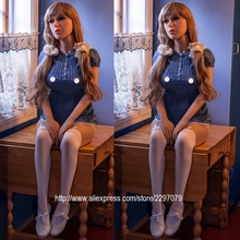 Buy New 148cm sexy real full silicone sex doll shemale metal skeleton big ass breast European American head TPE Tan skin love vagina
