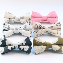 Men's Cool Linen Printed Hedgehog Boat Bear Whale Bowtie Man Neck Tie Cashew Nut Bowknot Gravatas Necktie Summer Butterfly Ties(China)