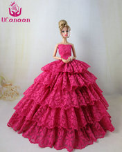 Not Contain the Doll ! Ucanaan 1 PC RED Fishtail Dress For Barbie Doll Limited Collection Elegant Handmade Dress Clothes Gifts(China)