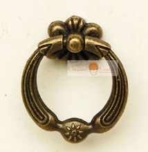 "1.65"" Antique Drawer Pull Knobs Ring Cabinet Handles Vintage Hardware for Kitchen and Bathroom Furniture 4pcs(China)"