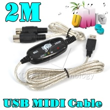 Hot 2M MIDI USB Cable Adapter PC to Music Keyboard Converter for PS2 Cubase Cakewalk Computer XP 7 8