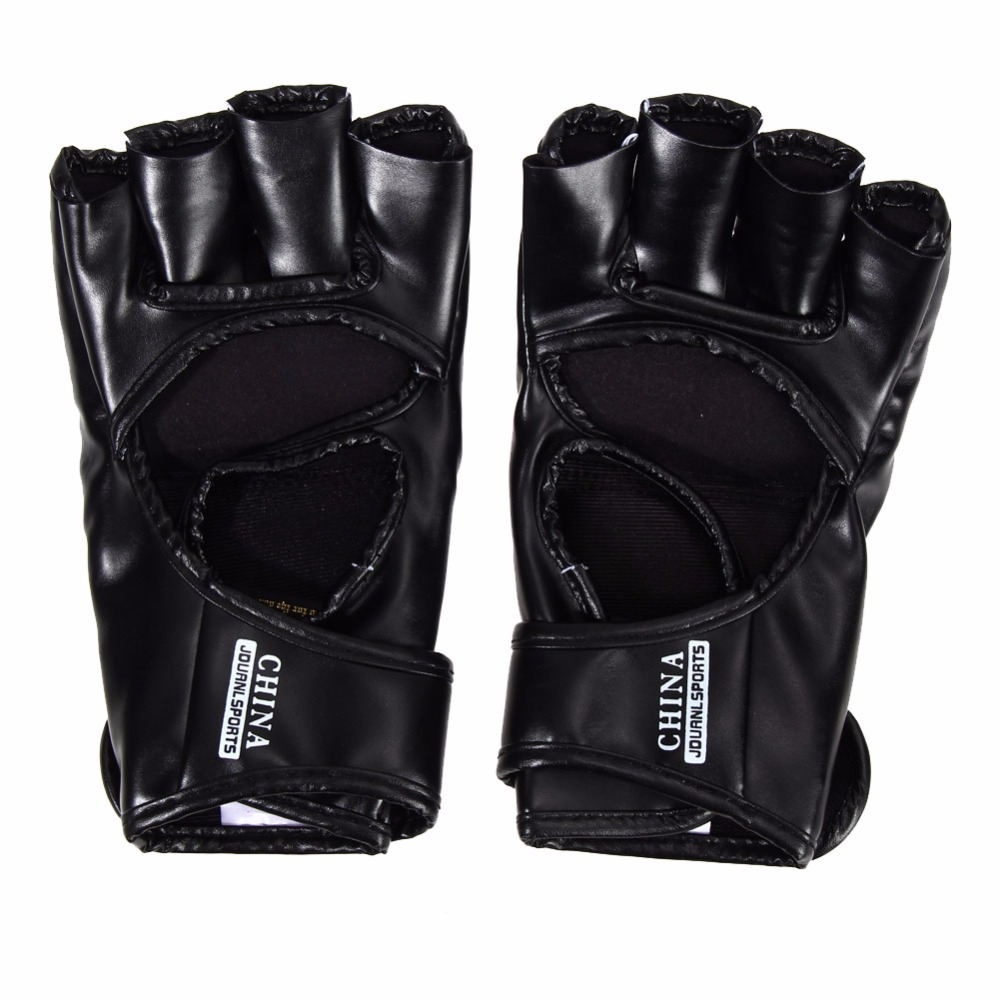 Kick Boxing Gloves PU Leather Half Finger Fight MMA Glove Muay Thai Boxing Training Fitness Boxer Fight Equipment for Adult 16