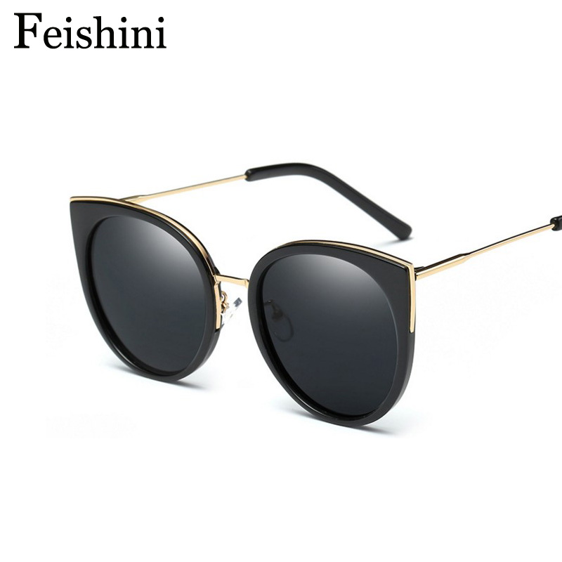 FEISHINI Round Brand Designer Gradient High Quality Polarized Sunglasses Women Mirrored Metal Cat Eye Rose Driving Sexy 2017<br><br>Aliexpress