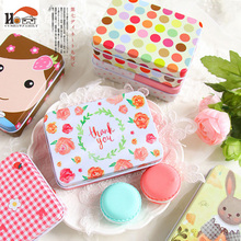 1 x Cute Square cardfile tin box pill case househould cable organizer kawaii storage box candy jewel container tea zakka tin box(China)