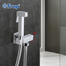 Frap 1 Set Solid Brass Single Cold Water Corner Valve Bidet Function square Hand Shower Head Tap Crane 90 Degree Switch F7502(China)