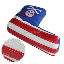 OEM Golf Putter Headcovers Thicken Head Cover Club Protector Magnet Closure SKULL Blue&Red Free Shipping