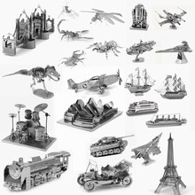 3D Metal Puzzle Aircraft Fighter Vehicle Insect Building Model Metallic Nano DIY Jigsaw Puzzles For Adults