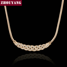 ZHOUYANG Top Quality Waltz of Love Rose Gold Color Chokers Necklace Jewelry Austrian Crystal Wholesale ZYN016 ZYN017