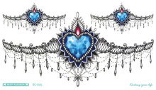 Women Body Art Temporary Tattoo Bule Design Heart Of The Sea Sexy Black Lace Diamond Waist Circle Fake Flash Tattoos Sticker