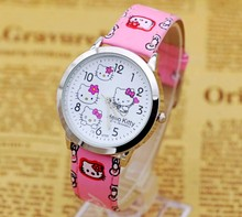 Wholesale Fashion Quartz Wristwatches, New Style Hello Kitty watch Kids Cartoon watch 4color best Xmas gift 10pcs/lot(China)