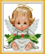 Joy sunday figure style Baby angel cross stitch stampes patterns lovely design embroidery painting for hand crafts perros pesca(China)