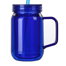 Mason jar with handle candy jar suction cup double wall plastic mug BPAfree with lid and straw juice cup milktea drinking bottle
