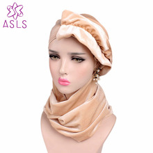 2017 New arrival Fashion Style winter scarf women warm Long Velvet Turban Head Wraps Hijab Head Scarf for women(China)
