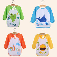 0-3years Waterproof Bibs Toddler Long Sleeve Bib Burp Half Cloths Children Boy Art Apron Animal Cartoon Feeding Eat Smock Bibs