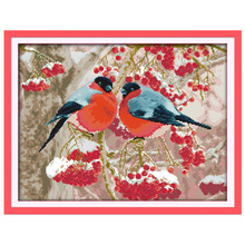 Bullfinch and Red Fruits Counted Pattern Cross Stitch DIY 11 14CT Animal Cross-Stitch Kits Home Decor Embroidery Needlework