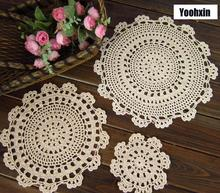 New DIY lace cotton table place mat cloth crochet placemat pad Christmas dining coaster pot cup mug holder coffee doily kitchen
