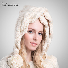 Sedancasesa Female Knitted Hats High Quality Cute Christmas Gifts Keep Warm Women Winter Knitted Beanie Hat with Pompom AA130820(China)