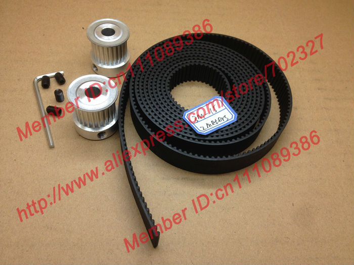 2pcs 24 teeth HTD 3M Timing Pulley Bore 8mm + 2Meters 3M open timing belt width 15mm for CNC machines laser engraving<br>