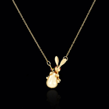 New Arrival Vintage Animal Rabbit Shape Red Pendants With Gold color Adjustable Chain Lucky Charm Necklace For Women Jewelry