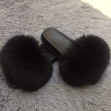 Fluffy Flip flips 2017 best fishion Women Shoes Black Fox Furry, Custom Fuzzy Puffs Pompom Flip Flips For Ladies