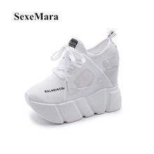 2017 Women's Fashion Casual Shoes Women's Shoes Increases Women's Shoes Network Air Wedge Airplane Shoes Black Platform(China)