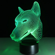 3D LED Light RGB Changeable Mood Lamp Dog Night Light DC5V USB Decorative Table Lamp.