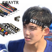 AWAYTR Women Men Elastic Headband Hair Accessory Dance Biker Sport Headband Stretch Letter Printed Hairband Hip Hop(China)