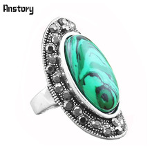Fashion Jewelry Retro Craft Tibetan Alloy Antique Silver Plated Oval Rhinestone Malachite Rings TR288