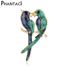 Vintage Dual Bird Parrot Brooches & Scarf Clip Expoyed Alloy Brooch Pin Garment Accessories Men or Women