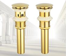 high quality brass material gold plating bathroom sink drain bathroom faucet accessories with or without overflow pop-up