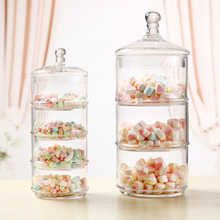 Continental 3layer wedding decorations candy jar transparent glass bottle storage ruled dessert snacks Sugar Bowl Canister cruet(China)