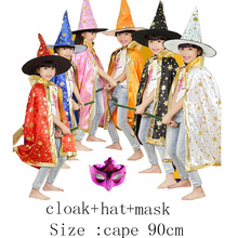 90cm Children Children Halloween Cospley Witch Bleached Cloak Black Red Blue Orange Cloak+ Hat + Mask Print Pumpkin Bats Ghost