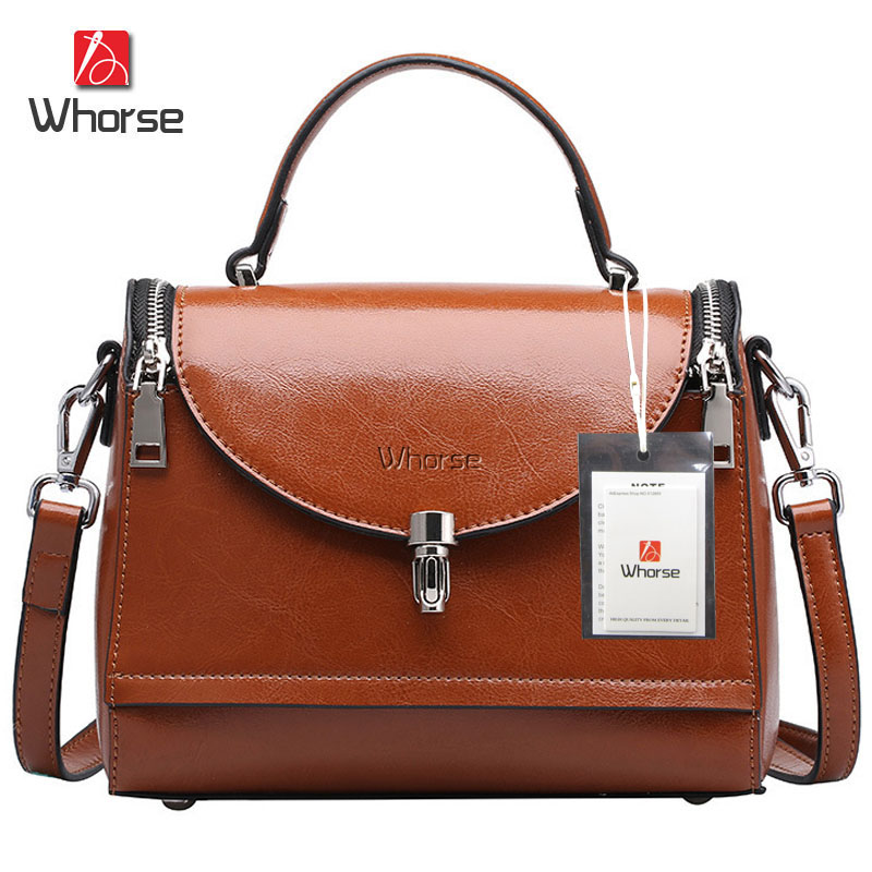 [WHORSE] Brand Logo Women Messenger Bags Genuine Leather Small Bag With Lock Lady Top-Handle Shoulder Crossbody Bags Retro Tote<br><br>Aliexpress