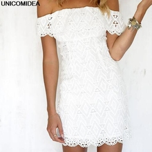 Buy 2017 Summer Style Sexy Dress Robe Shoulder Slash Neck White Dress Vestidos Mujer Women Strapless Lace Mini Bodycon Dress for $10.00 in AliExpress store