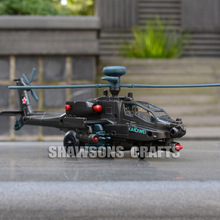 DIECAST METAL MILITARY MODEL TOYS 1:64 AH-64 APACHE HELICOPTER SOUND & LIGHT W/O BOX(China)