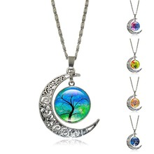 Silver Crescent Necklace Tree of Life art Glass Cabochon Pendant Fashion Half Moon Accessories Chain Necklace for Women Jewelry
