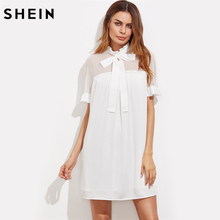 SHEIN Bow Front Sheer Shoulder Frilled Dress Womens Summer Dresses 2017 White Short Sleeve Cut Out Back Cute Dress