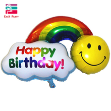 Foil Balloons double side Happy Birthday Wedding Decoration Large size Smile Face Rainbow Globos balls Have A Nice Day kids toys(China)