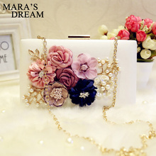 Mara's Dream 2017 Women Bag Hot Hand Evening Bags PU Leather New Chain Appliques Pattern Flowers Small Flap Wedding Dinner Bags